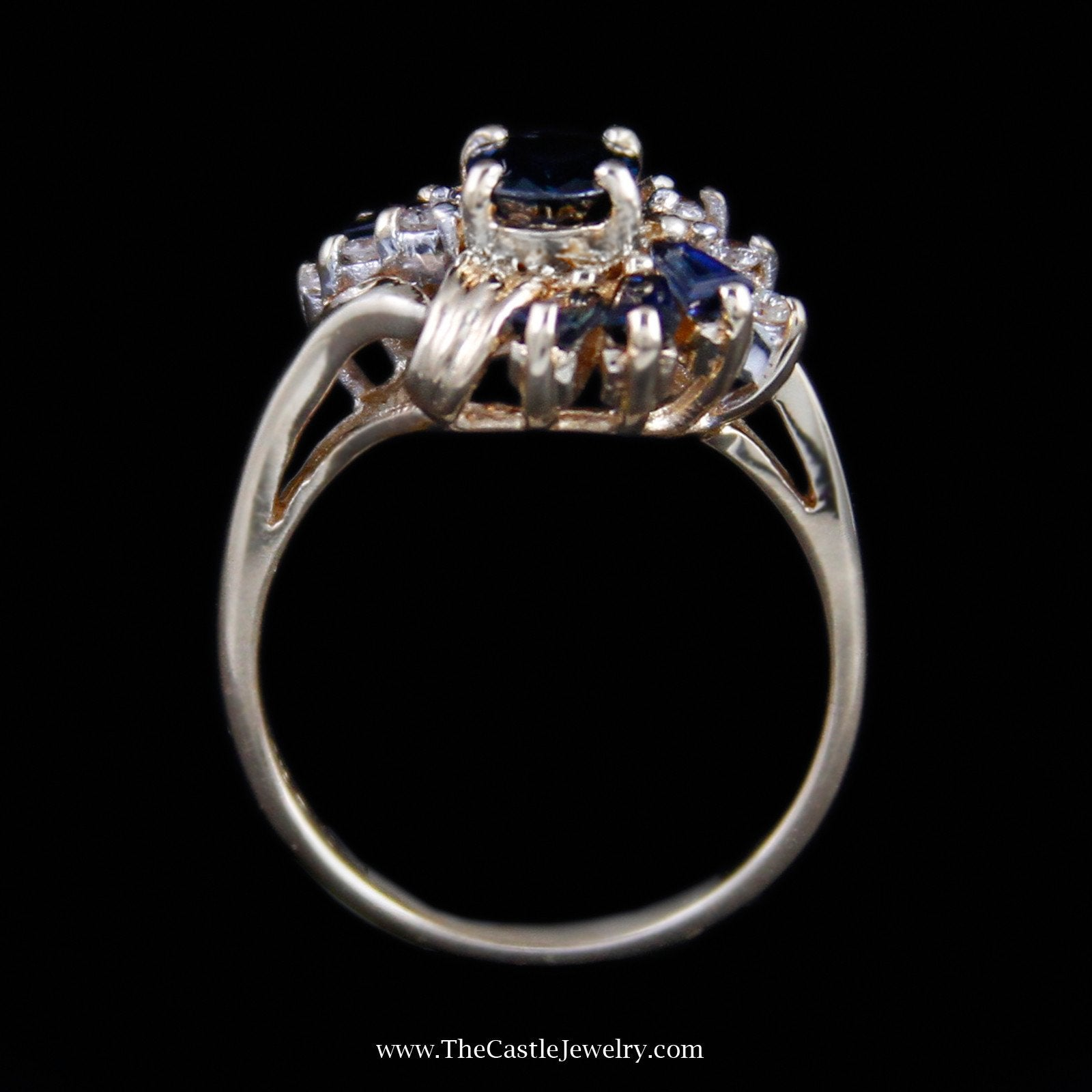 Beautiful Oval Cut Sapphire Ring with Baguette Sapphire & Round Diamond Sides-1