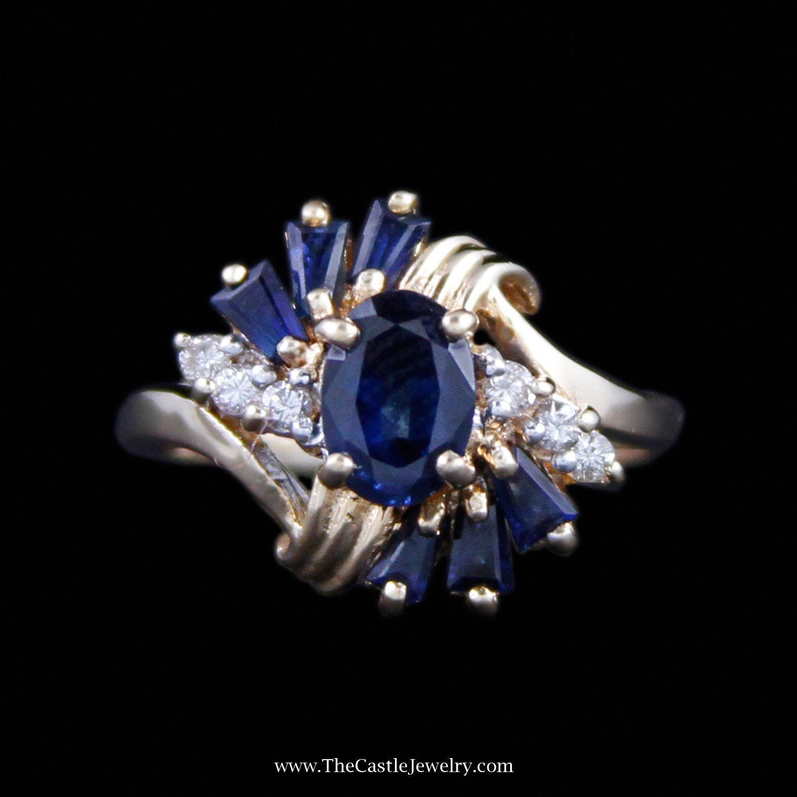Beautiful Oval Cut Sapphire Ring with Baguette Sapphire & Round Diamond Sides