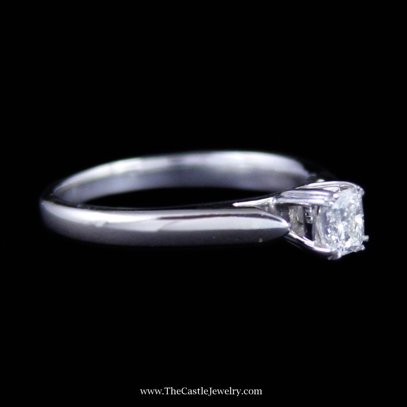 Gorgeous Radiant Cut Diamond Solitaire Engagement Ring in 14K White Gold-2
