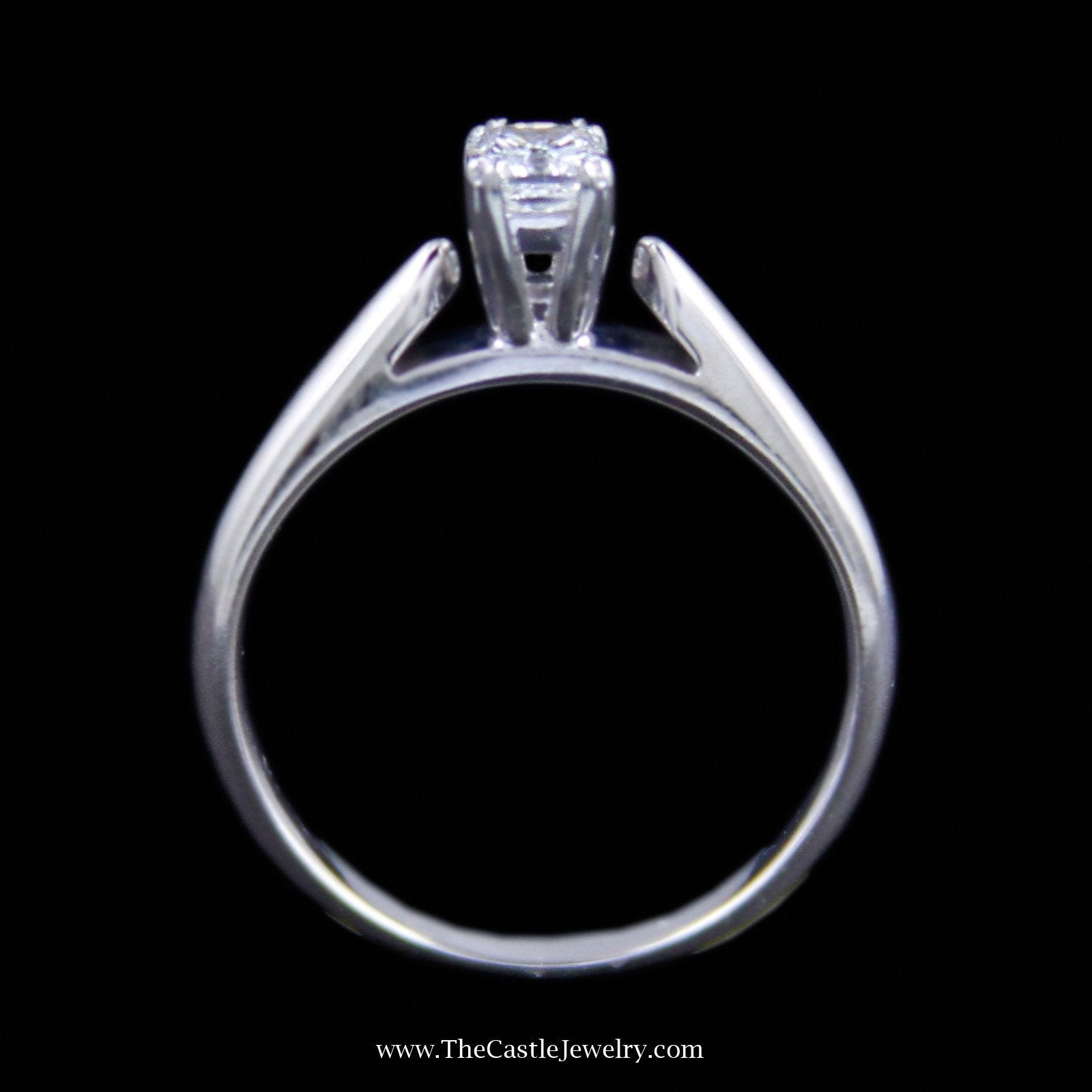 Gorgeous Radiant Cut Diamond Solitaire Engagement Ring in 14K White Gold-1