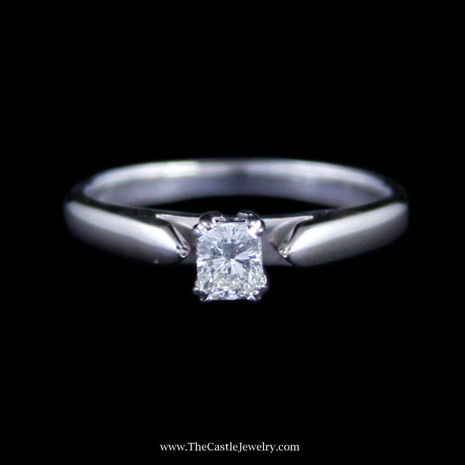 Gorgeous Radiant Cut Diamond Solitaire Engagement Ring in 14K White Gold