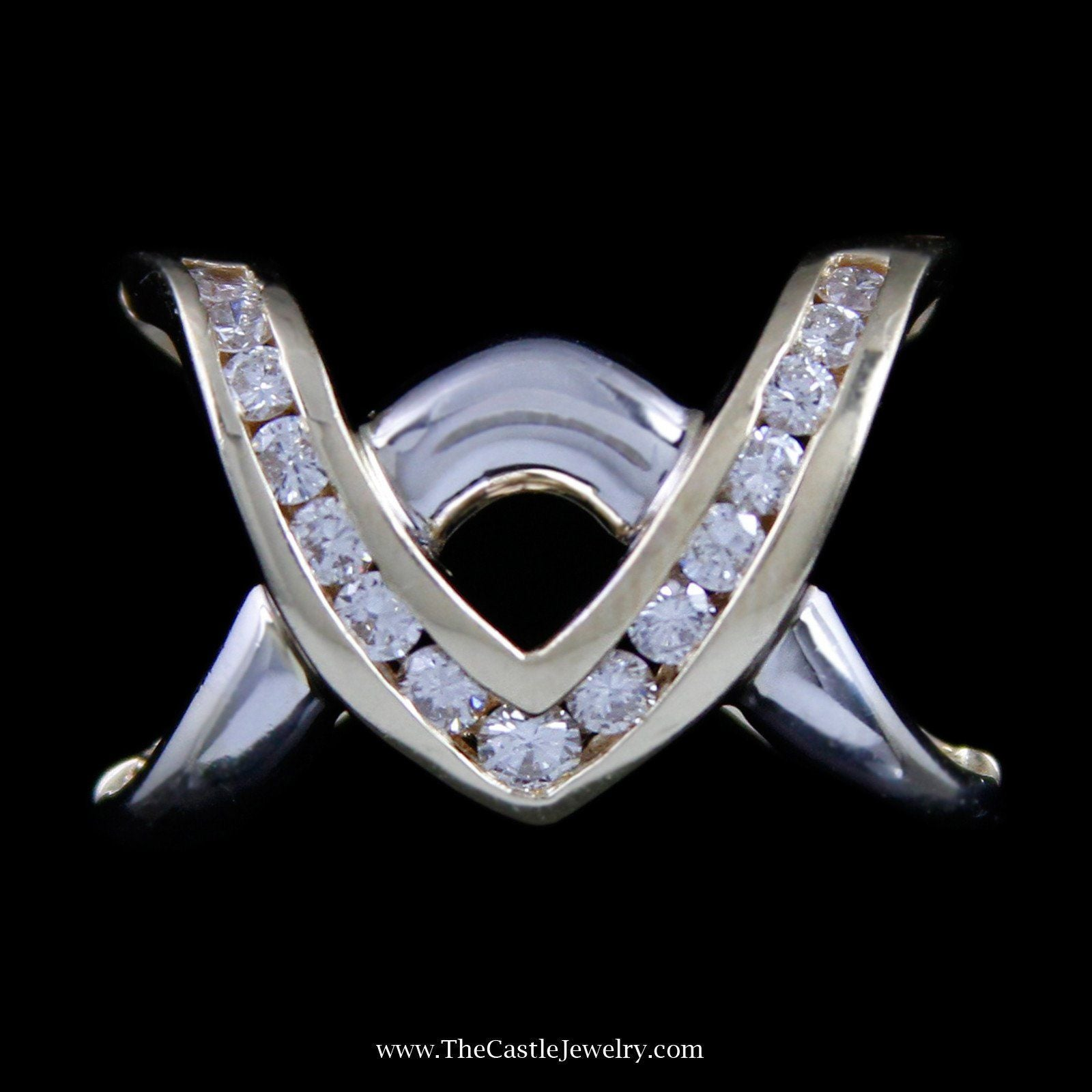 Unique Slide Pendant with Channel Set Round Brilliant Cut Diamonds-0