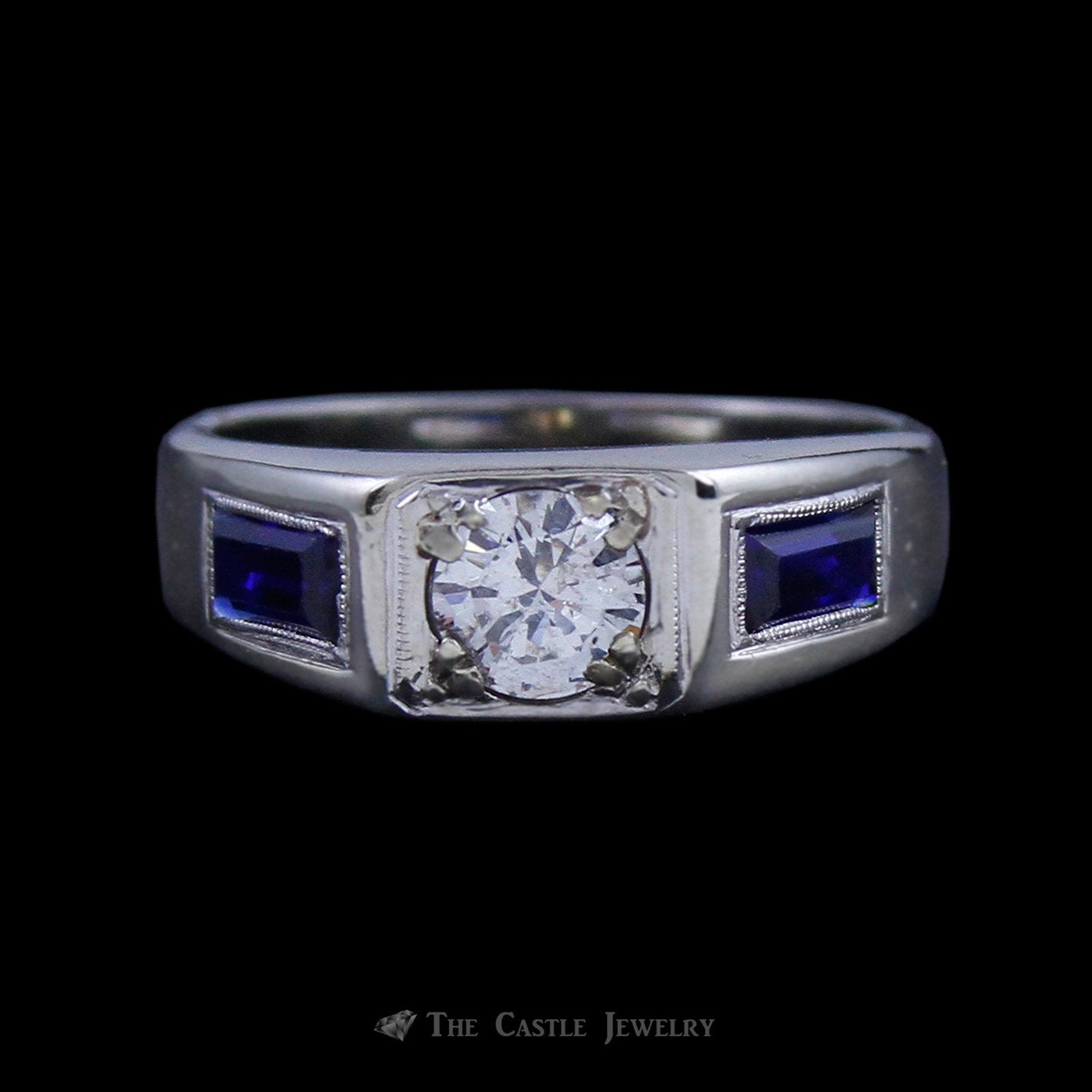 Men's .65ct Round Brilliant Cut Diamond Solitaire w/ Rectangle Sapphire Sides