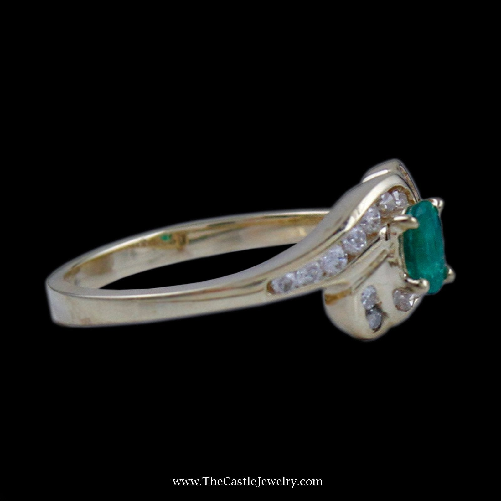 Beautiful Oval Emerald Ring in Bypass Diamond Mounting in 14K Yellow Gold-2