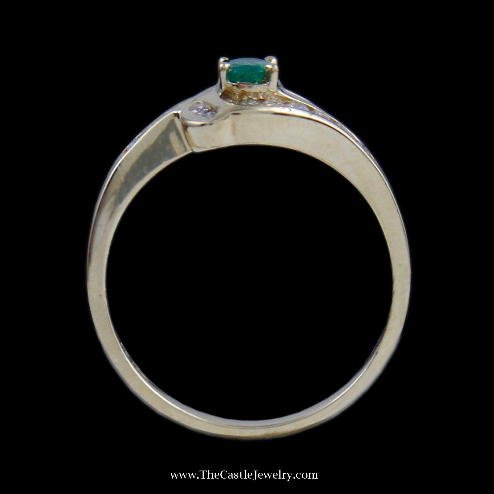 Beautiful Oval Emerald Ring in Bypass Diamond Mounting in 14K Yellow Gold-1