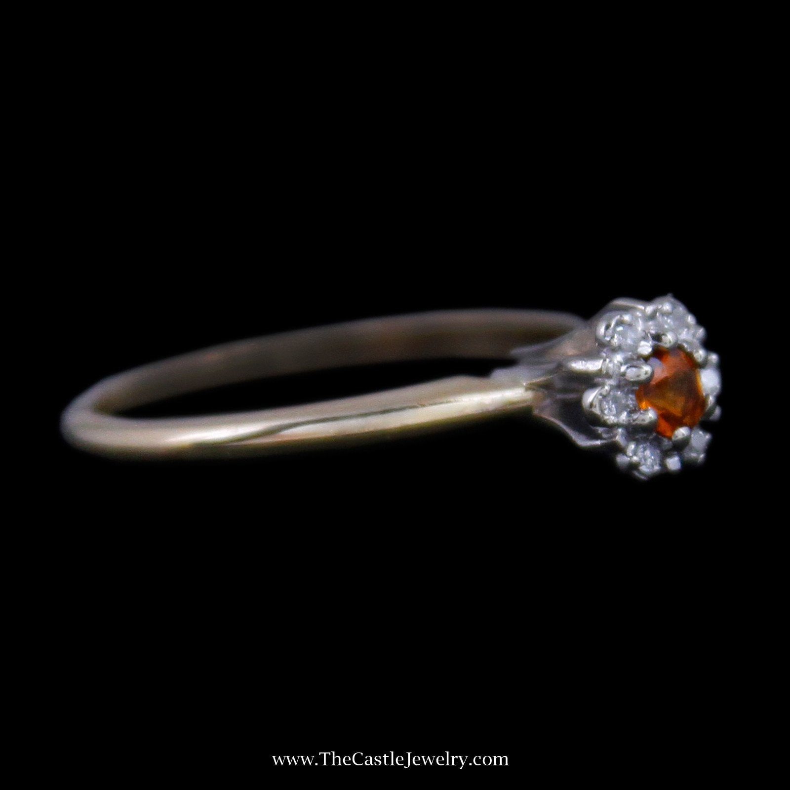 Charming Round Citrine Ring with Round Brilliant Cut Diamond Halo in 14K Yellow Gold