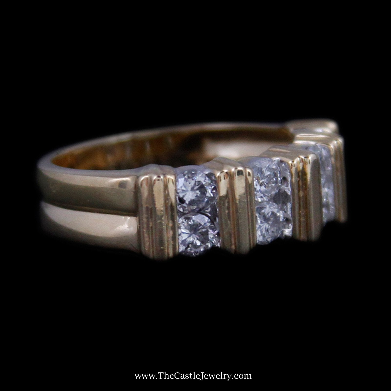 Beautiful vertical Channel Set Round Brilliant Cut Diamond Band with Bar Design-2