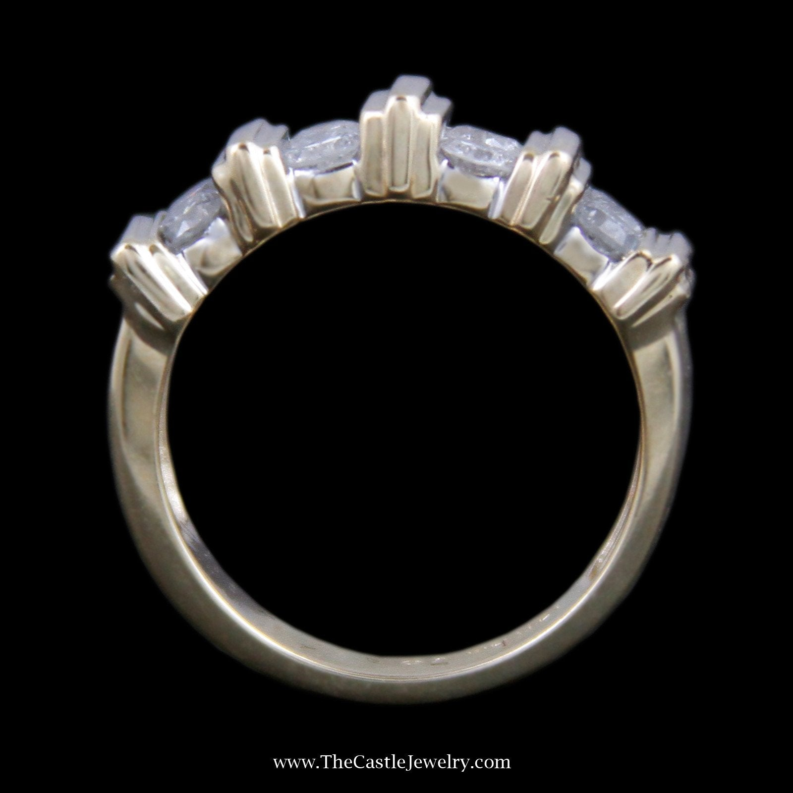 Beautiful vertical Channel Set Round Brilliant Cut Diamond Band with Bar Design-1