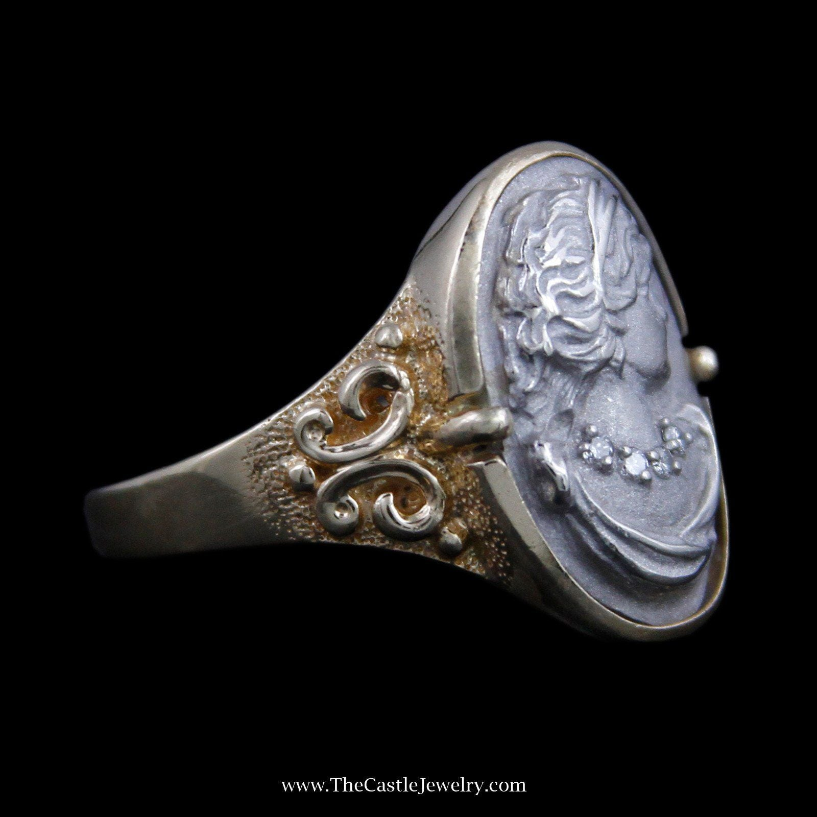 Unique Carved White Gold Cameo with Diamond Accents & Antique Style Mounting