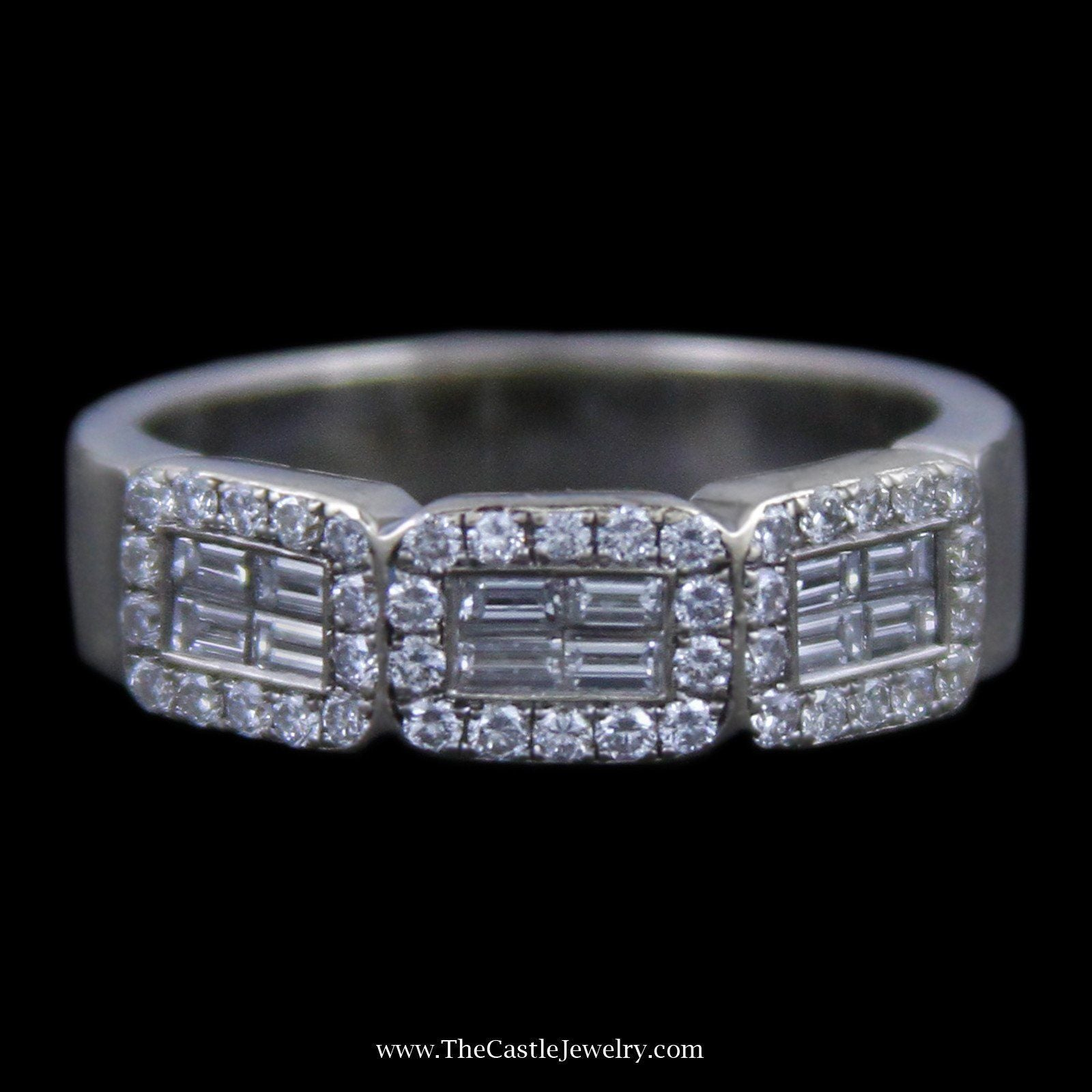 Gorgeous Triple Baguette & Round Brilliant Cut Diamond Cluster Wedding Band