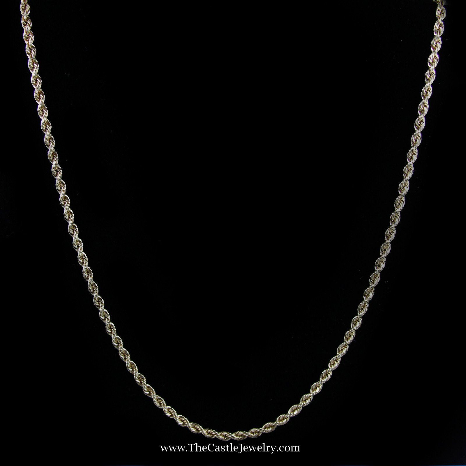 21″ Rope Chain w/ Box Clasp & Latch in Yellow Gold