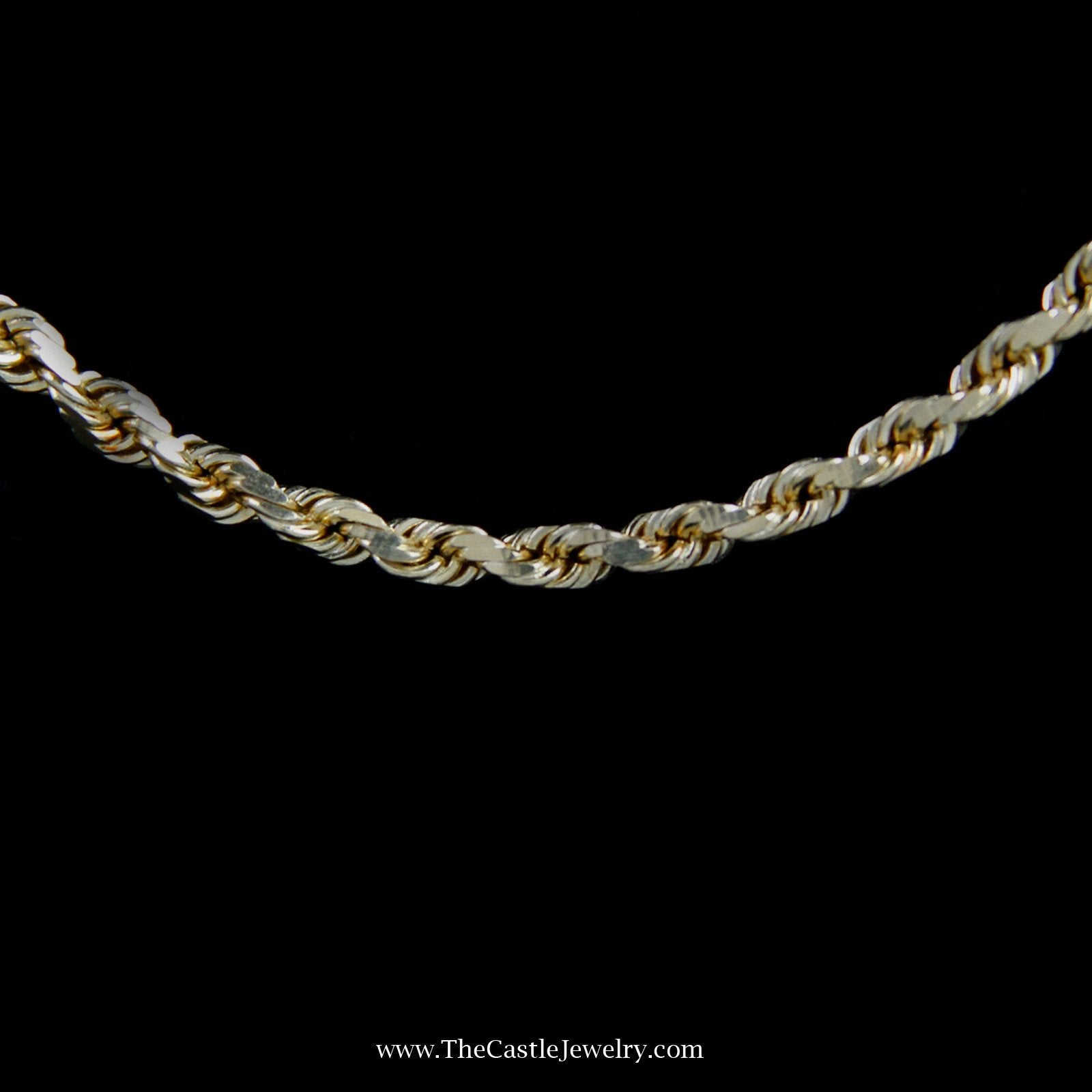 Diamond Cut 20″ Rope Chain w/ Lobster Clasp in Yellow Gold-1