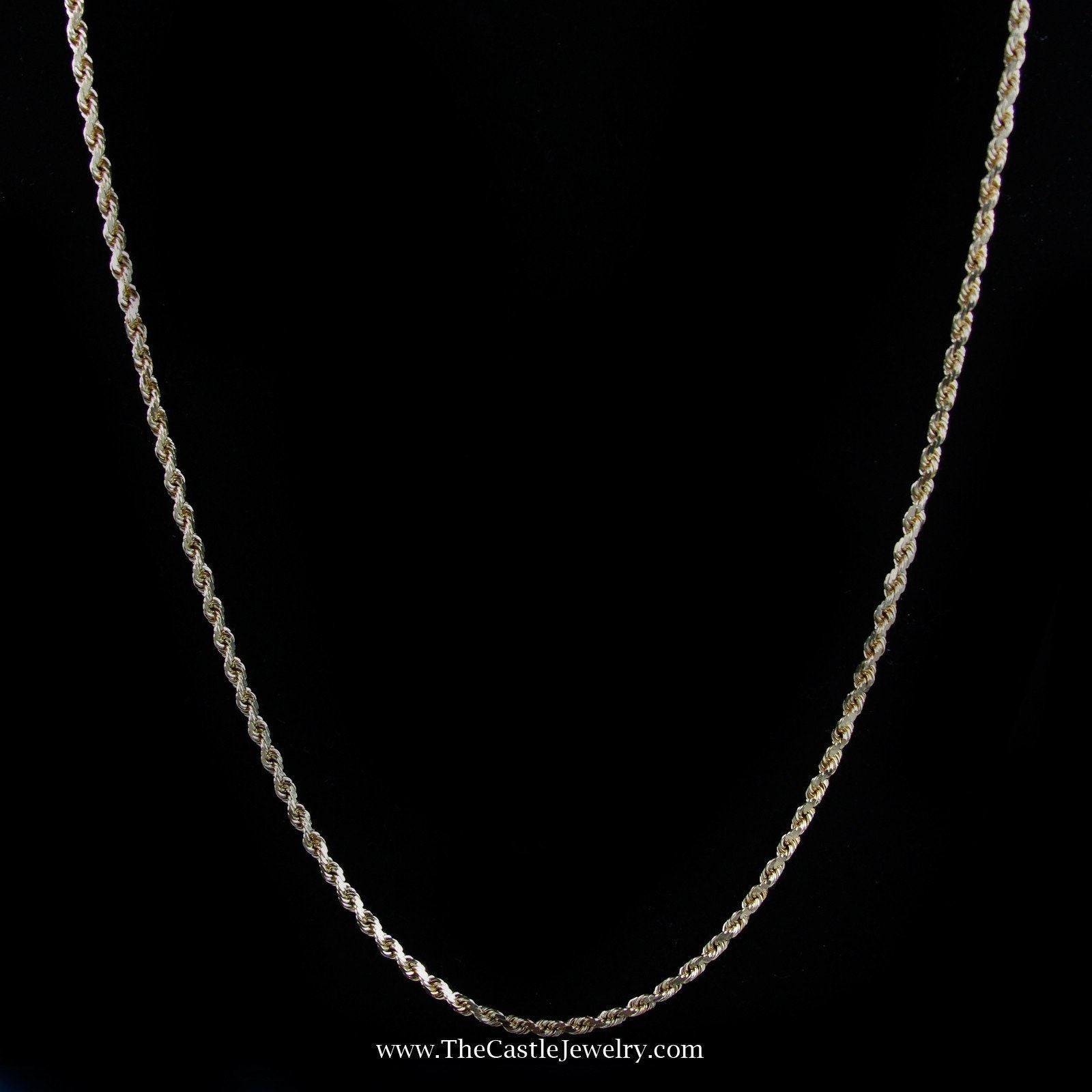 Diamond Cut 20″ Rope Chain w/ Lobster Clasp in Yellow Gold