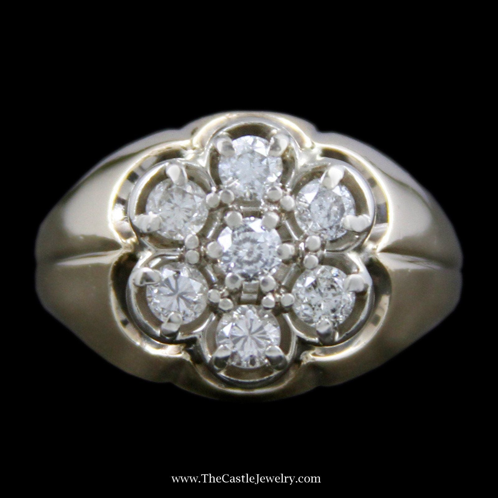 Men's .75cttw Seven Round Diamond Cluster Ring in Scalloped Design Mounting