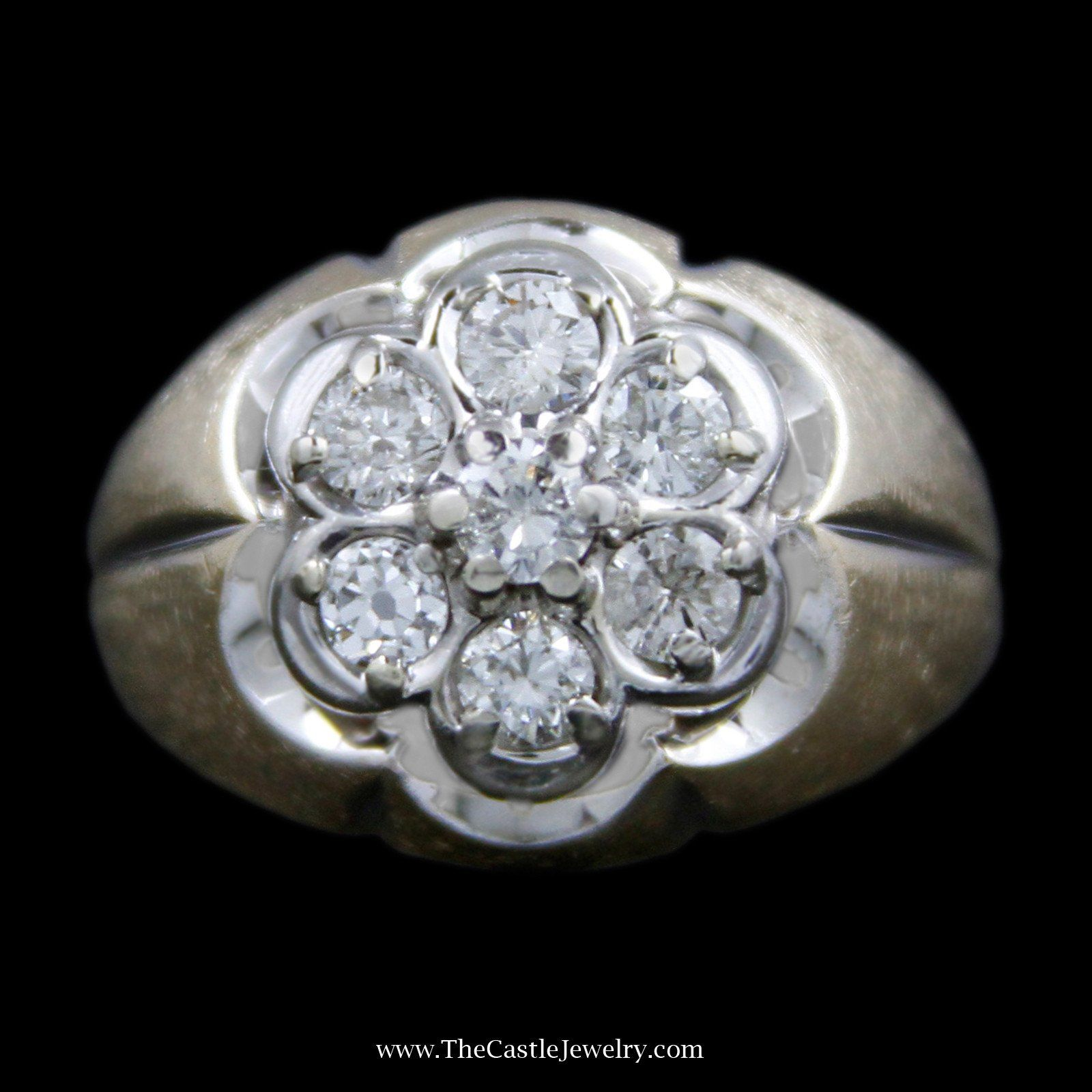 Men's 1cttw 7 Diamond Round Cluster in Scalloped Design Mounting & Brush Finish