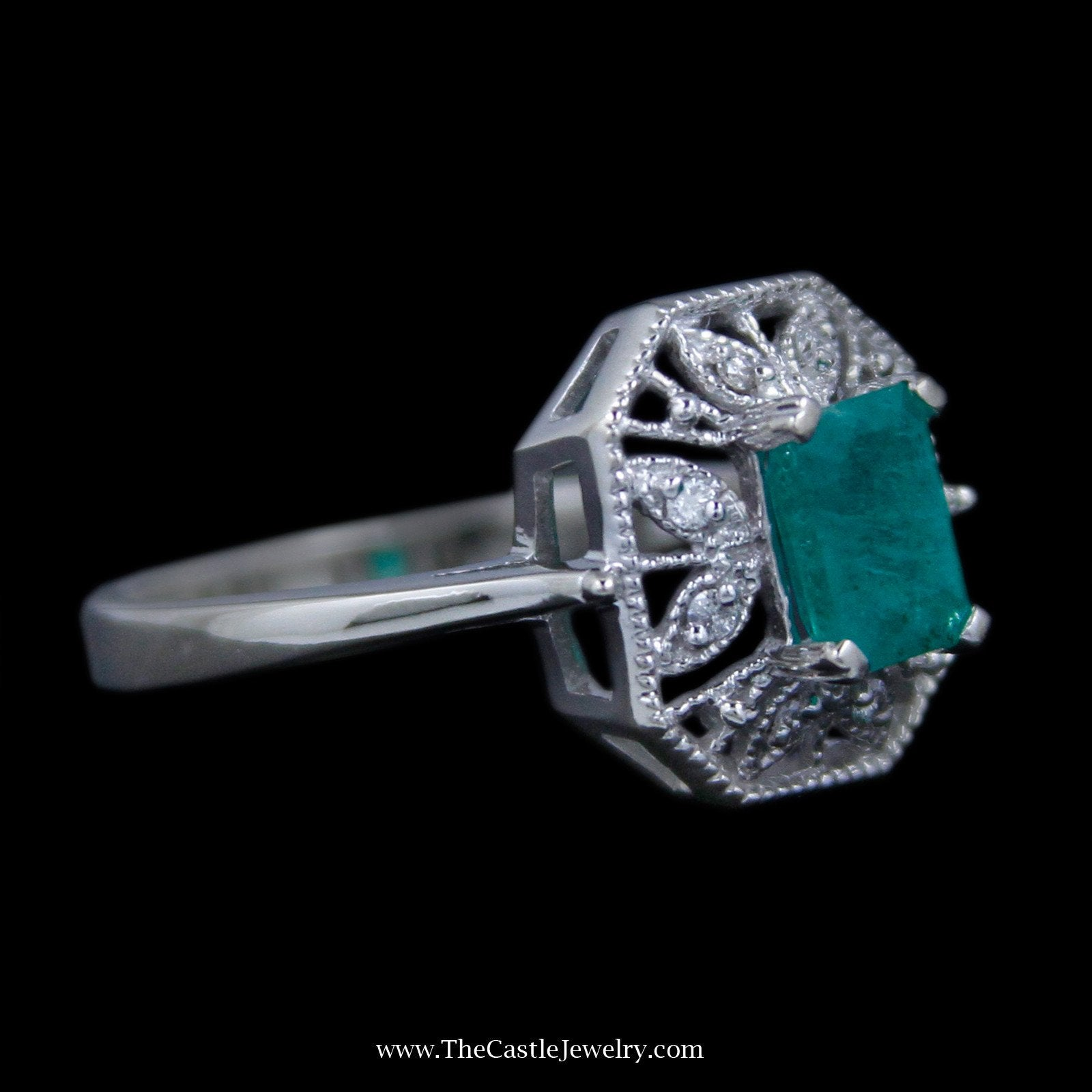 Gorgeous Emerald Cut Emerald Ring with Round Diamond Open Leaf Design Mounting-2