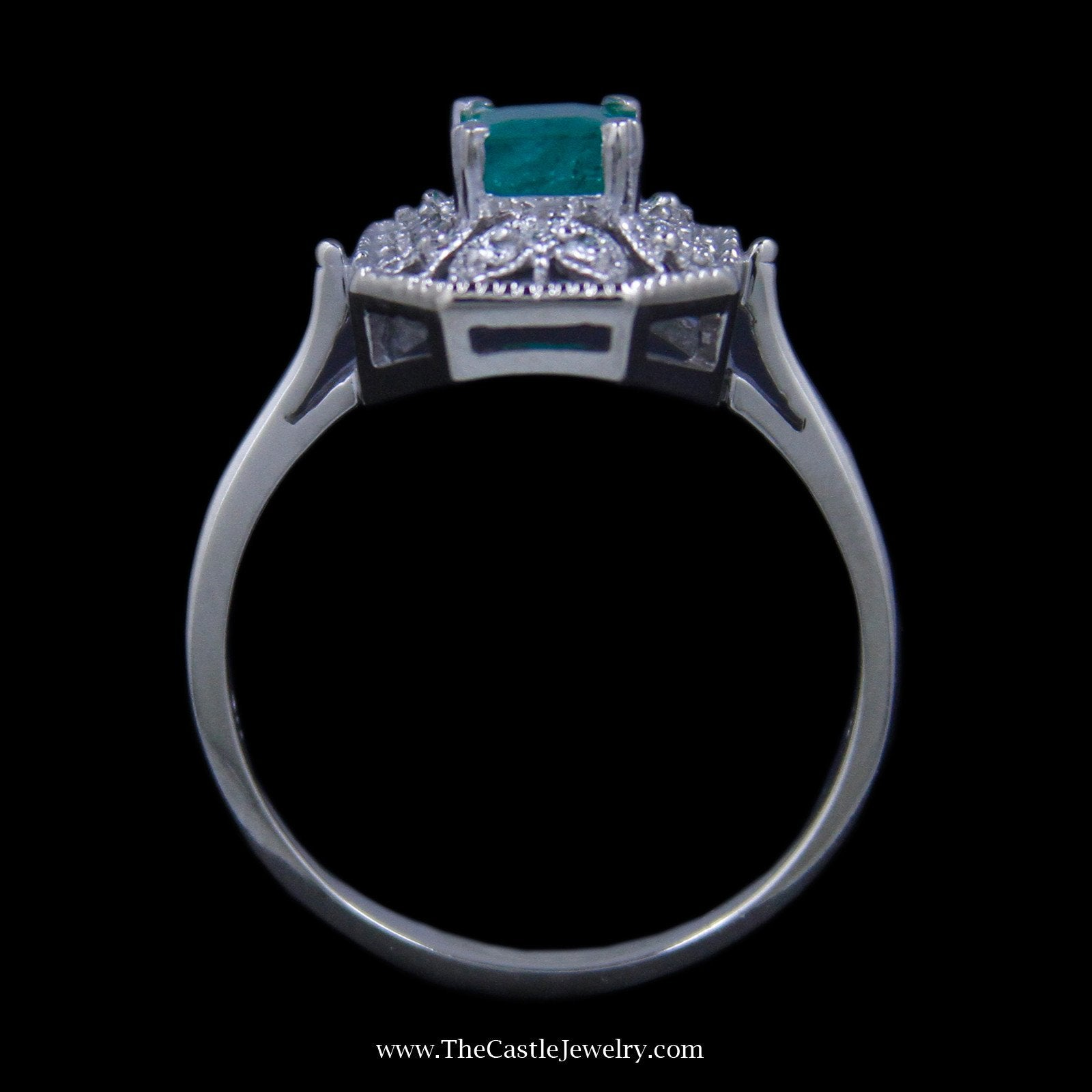 Gorgeous Emerald Cut Emerald Ring with Round Diamond Open Leaf Design Mounting-1