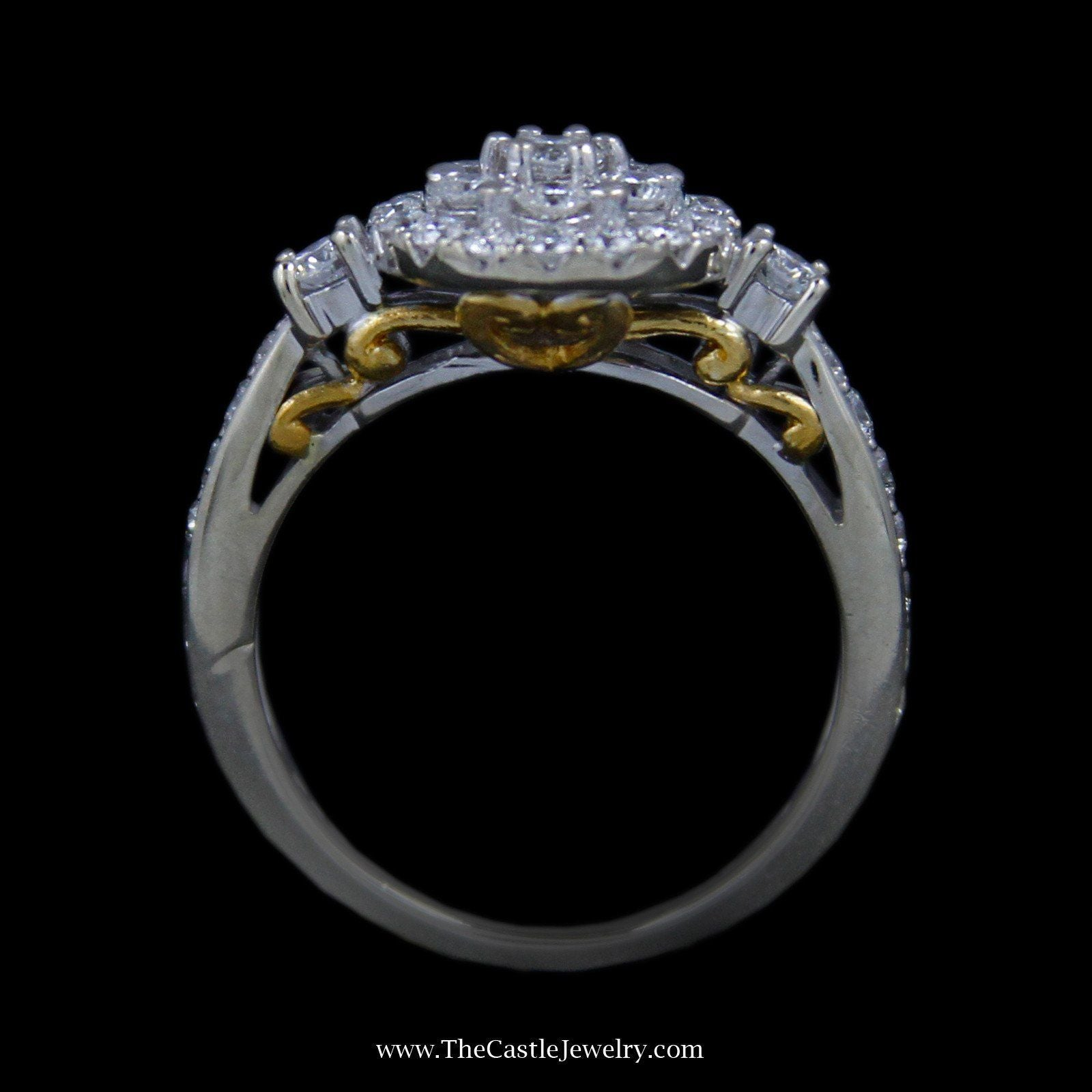 Gorgeous Round Diamond Cluster Ring w/ Round Diamonds in 14k White Gold w/ 24k Yellow Gold-1