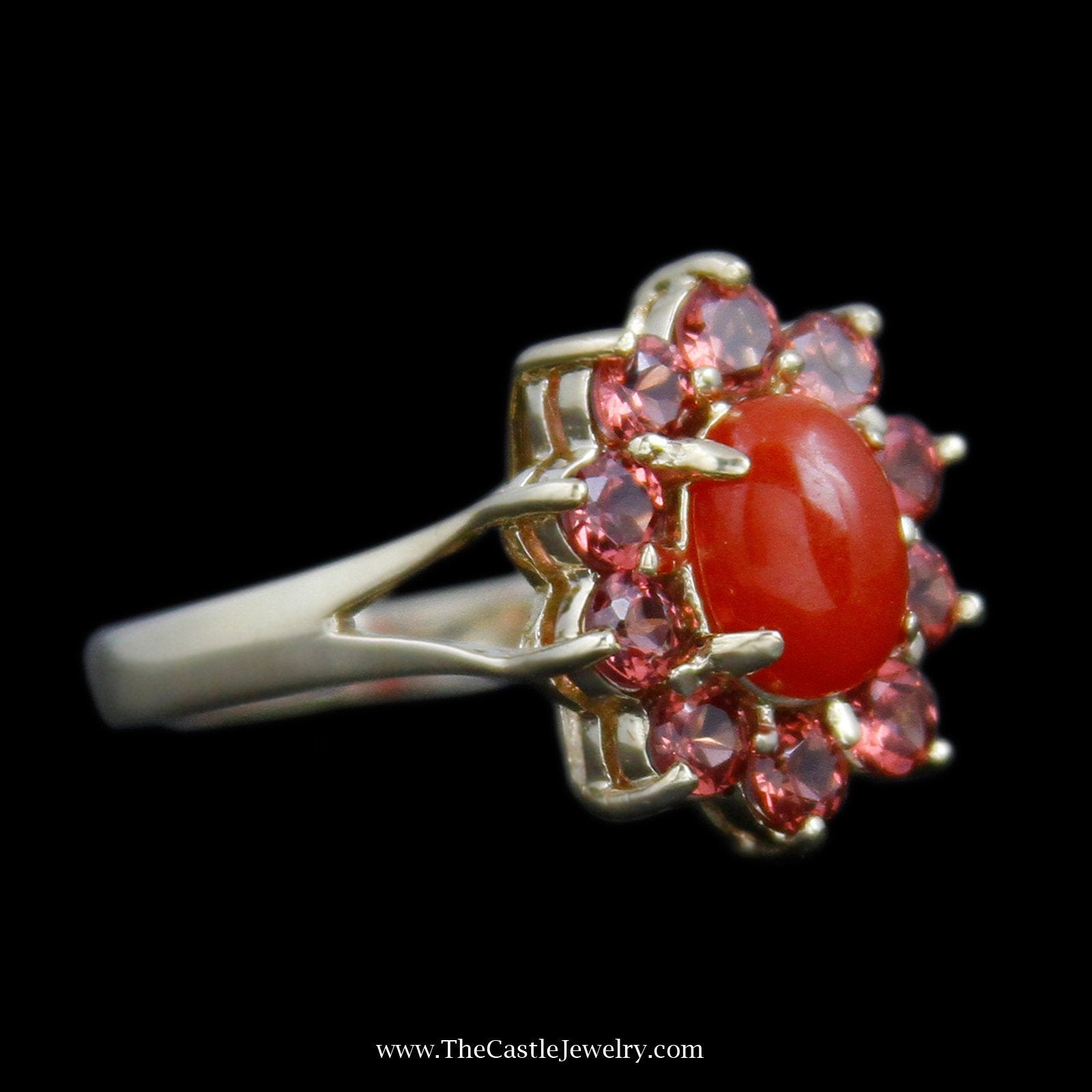 Lovely Oval Cabochon Carnelian Ring with Round Garnet Bezel & Split Design Sides-2