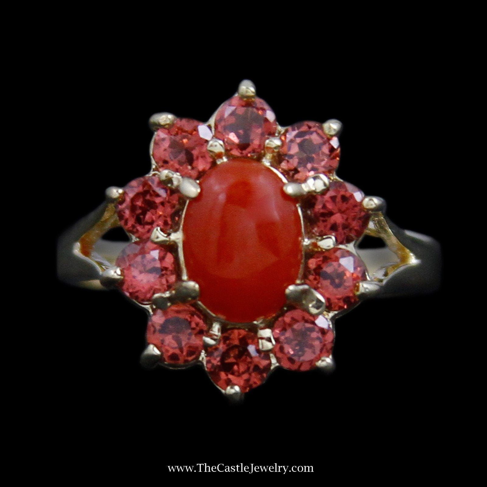 Lovely Oval Cabochon Carnelian Ring with Round Garnet Bezel & Split Design Sides