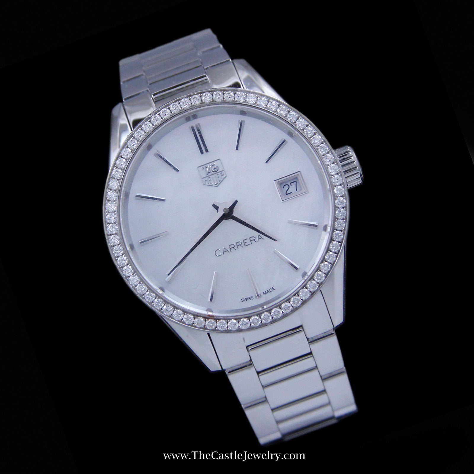 Ladies Tag Carrera Watch 33mm White Pearl Face & Diamond Bezel-4