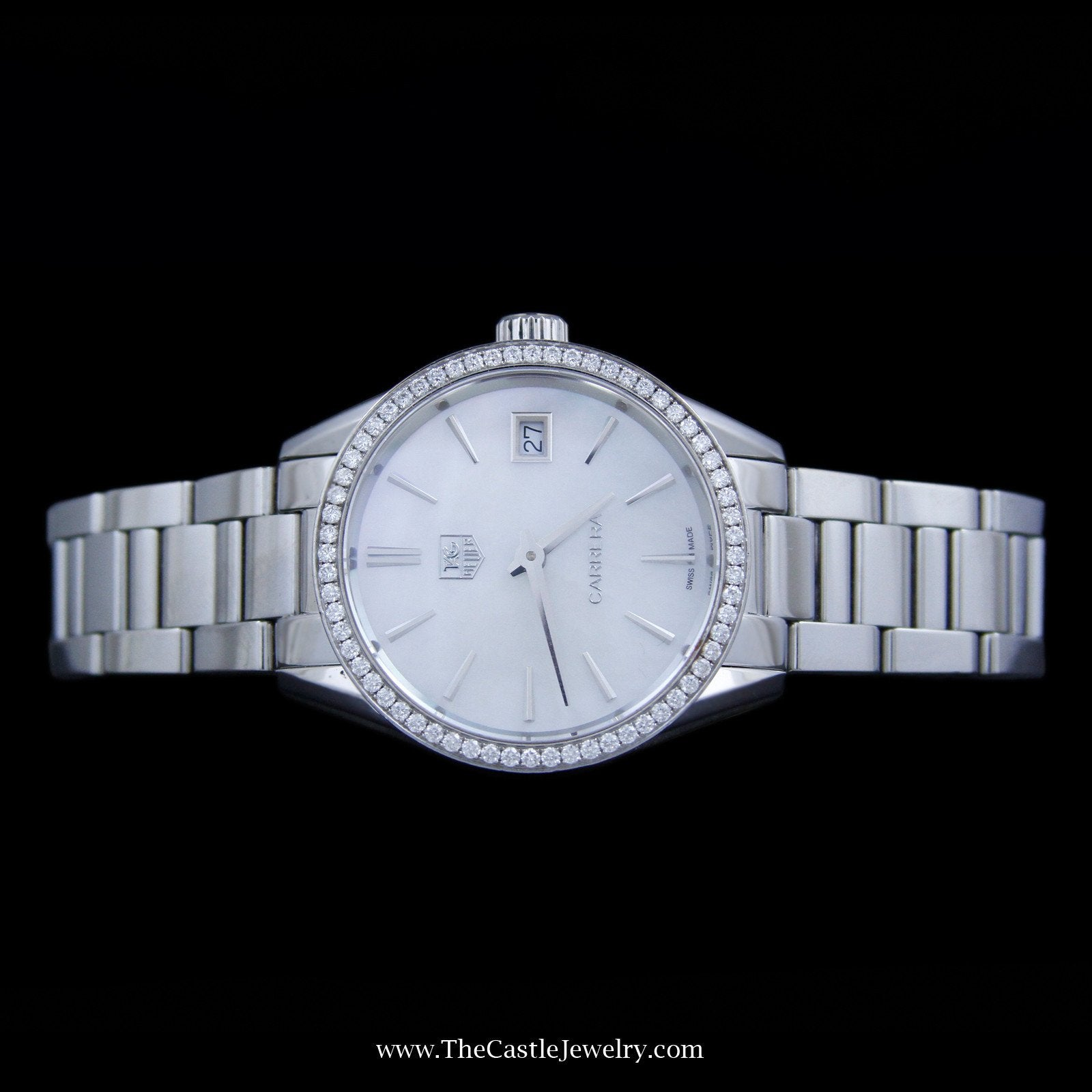 Ladies Tag Carrera Watch 33mm White Pearl Face & Diamond Bezel-2