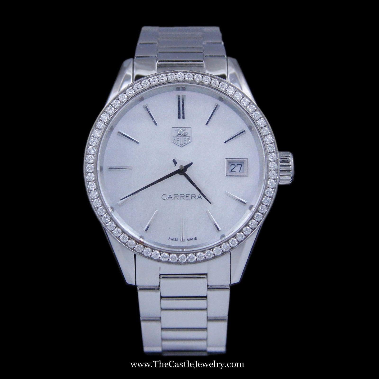 Ladies Tag Carrera Watch 33mm White Pearl Face & Diamond Bezel