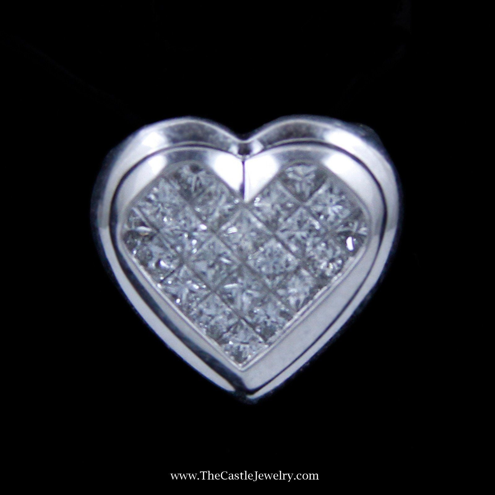 Charming Invisible Set Heart Shaped Diamond Pendant in 14k White Gold