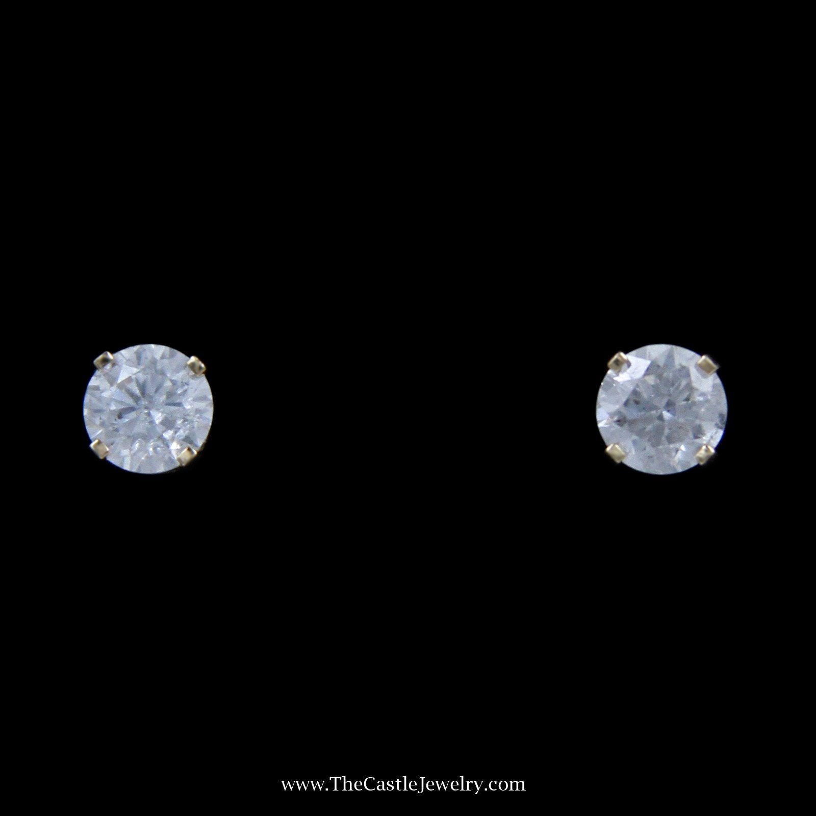 Stunning 1cttw Round Brilliant Cut Diamond Stud Earrings in Yellow Gold-0