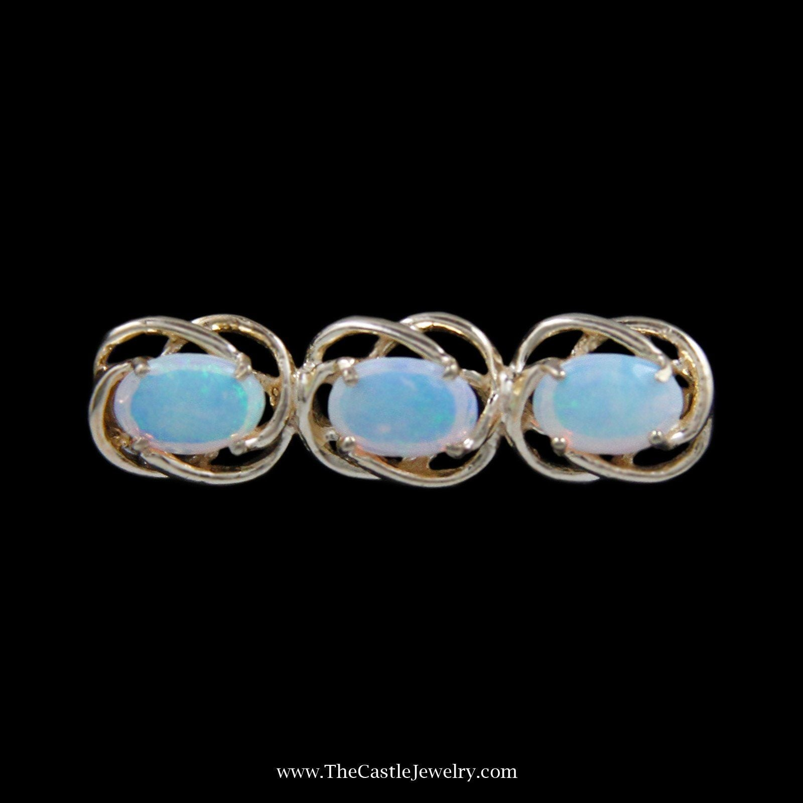 Gorgeous 3 Oval Opal Pin with Looped Design Bezels in Yellow Gold