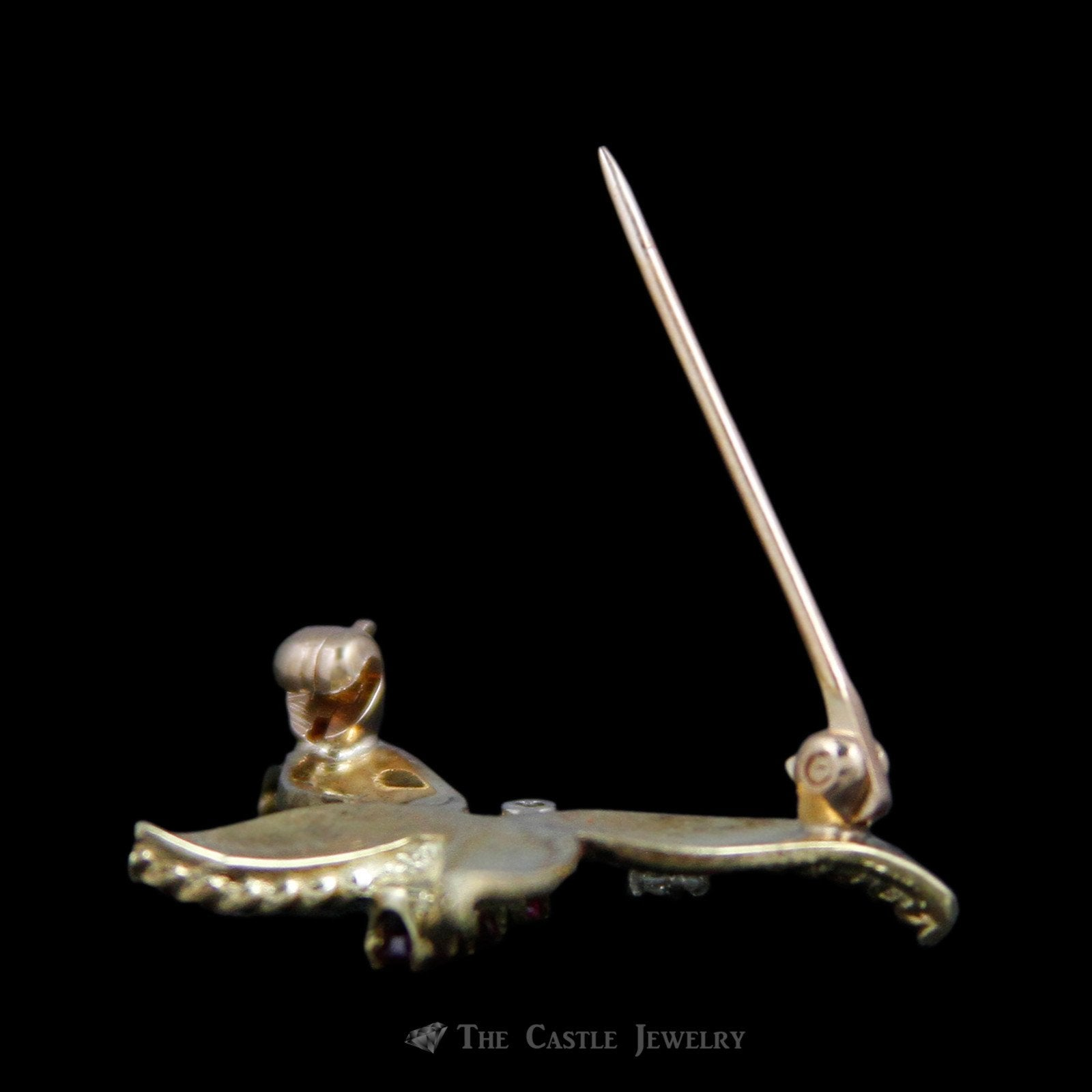 Charming Butterfly Pin with Ruby & Diamond Accents 14K Yellow Gold