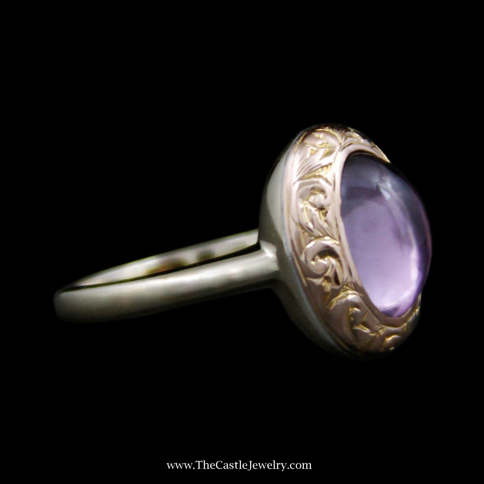 Charming Oval Cabochon Amethyst Ring with Swirl Design Bezel in 14k Yellow Gold-2