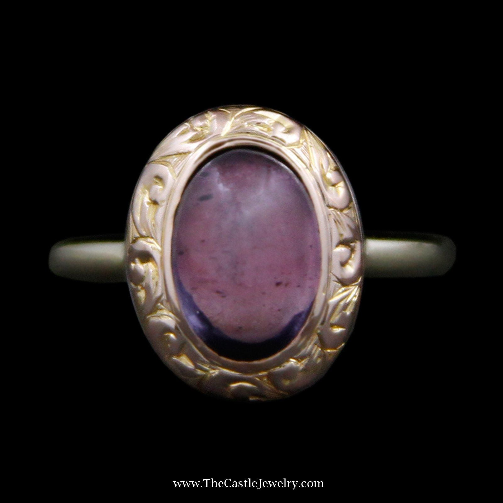 Charming Oval Cabochon Amethyst Ring with Swirl Design Bezel in 14k Yellow Gold