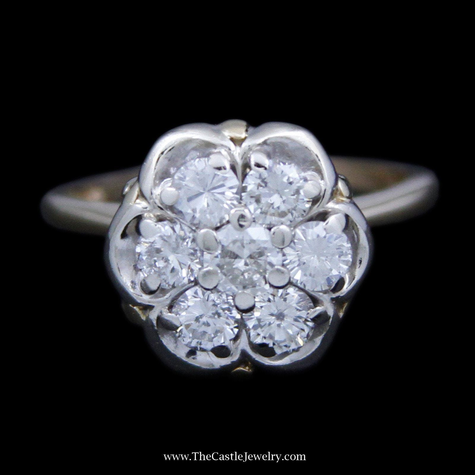 Round Brilliant Cut 7 Diamond Cluster with Fancy Design Mount in 14K Yellow Gold