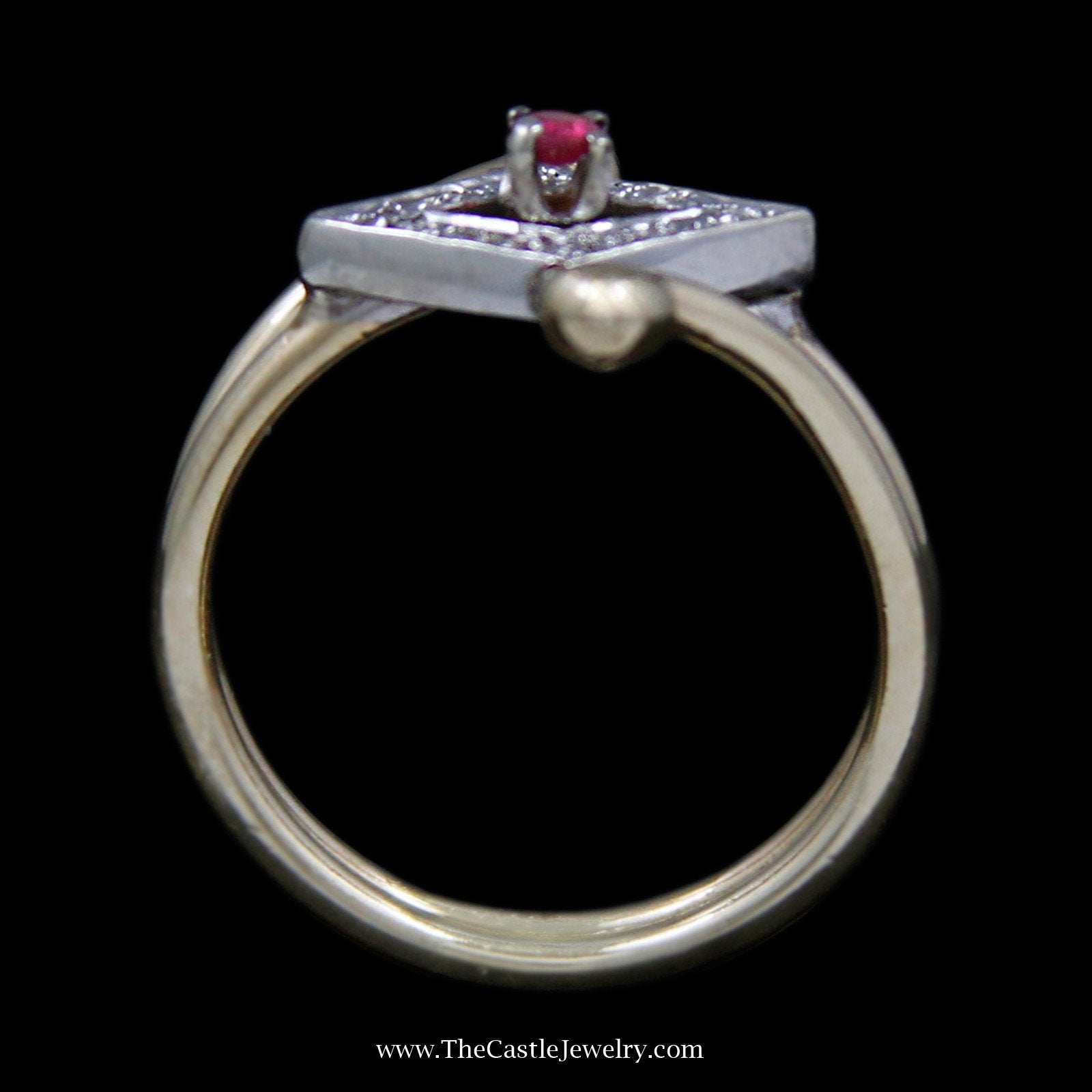 Unique Round Ruby Ring with Sideways Diamond Bezel with Round Diamonds-1
