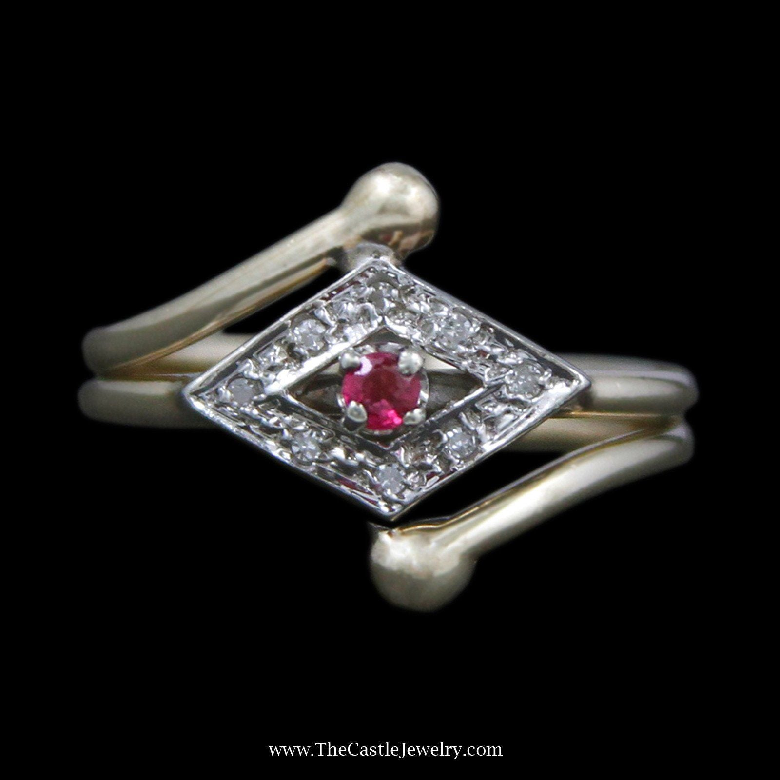 Unique Round Ruby Ring with Sideways Diamond Bezel with Round Diamonds-0