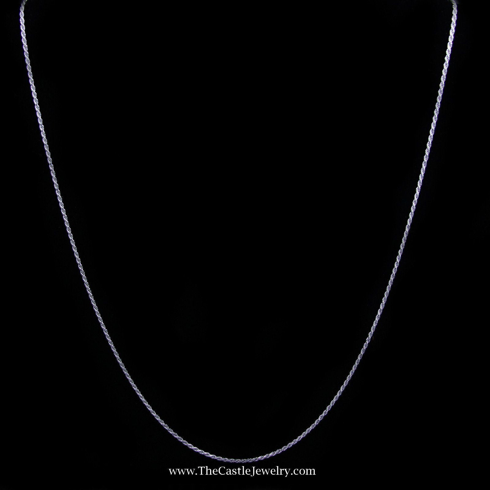 Rope Chain Necklace in 14K White Gold 18 Inches Long