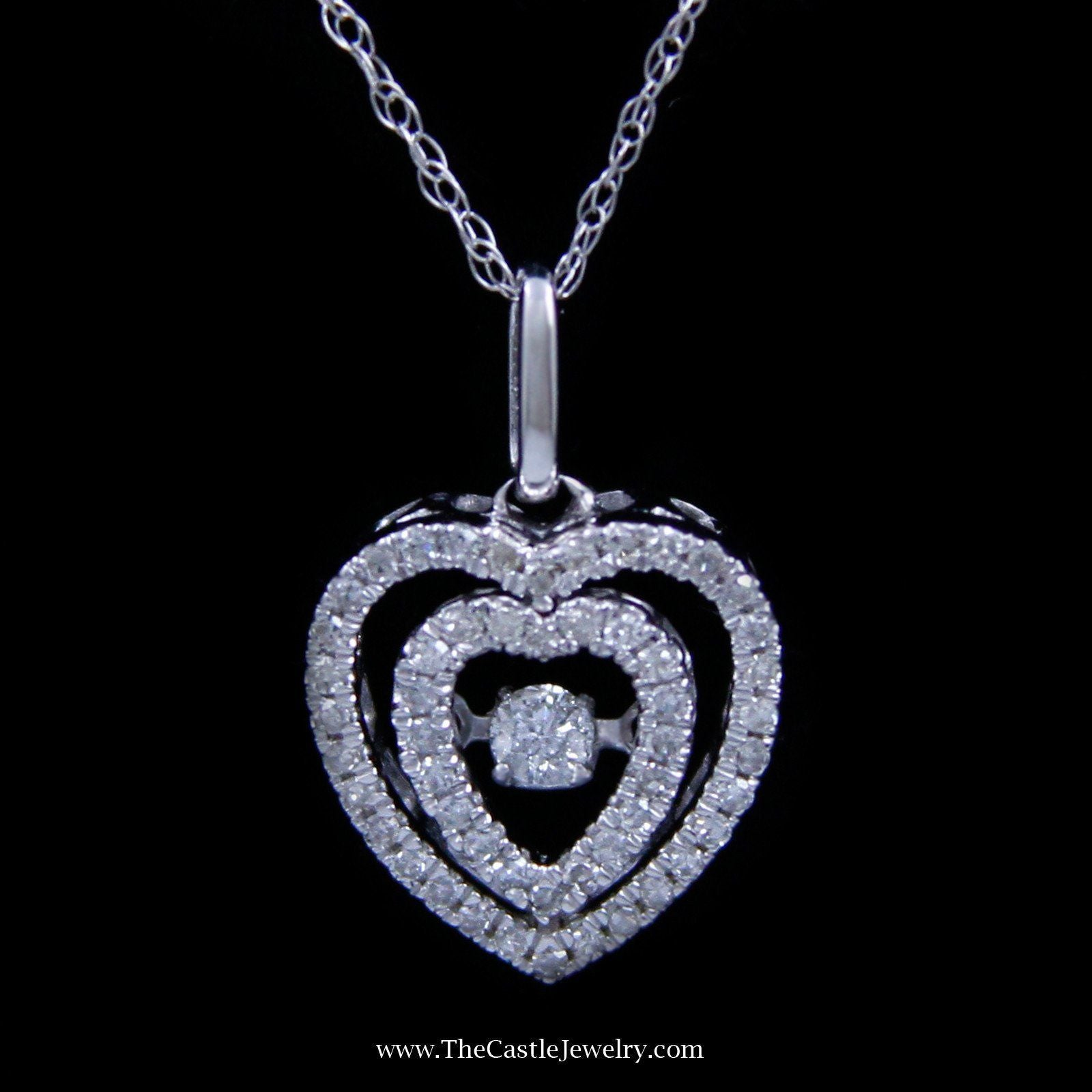 SPECIAL! Double Heart .18cttw Diamond Heart Beat Necklace in 10K White Gold