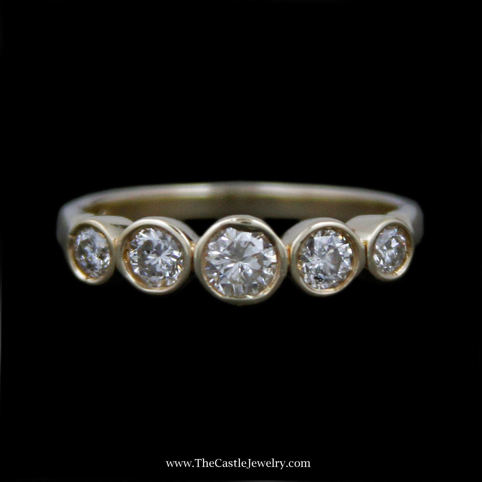Beautiful .50cttw Round Bezel Set Diamond Band in 14k Yellow Gold