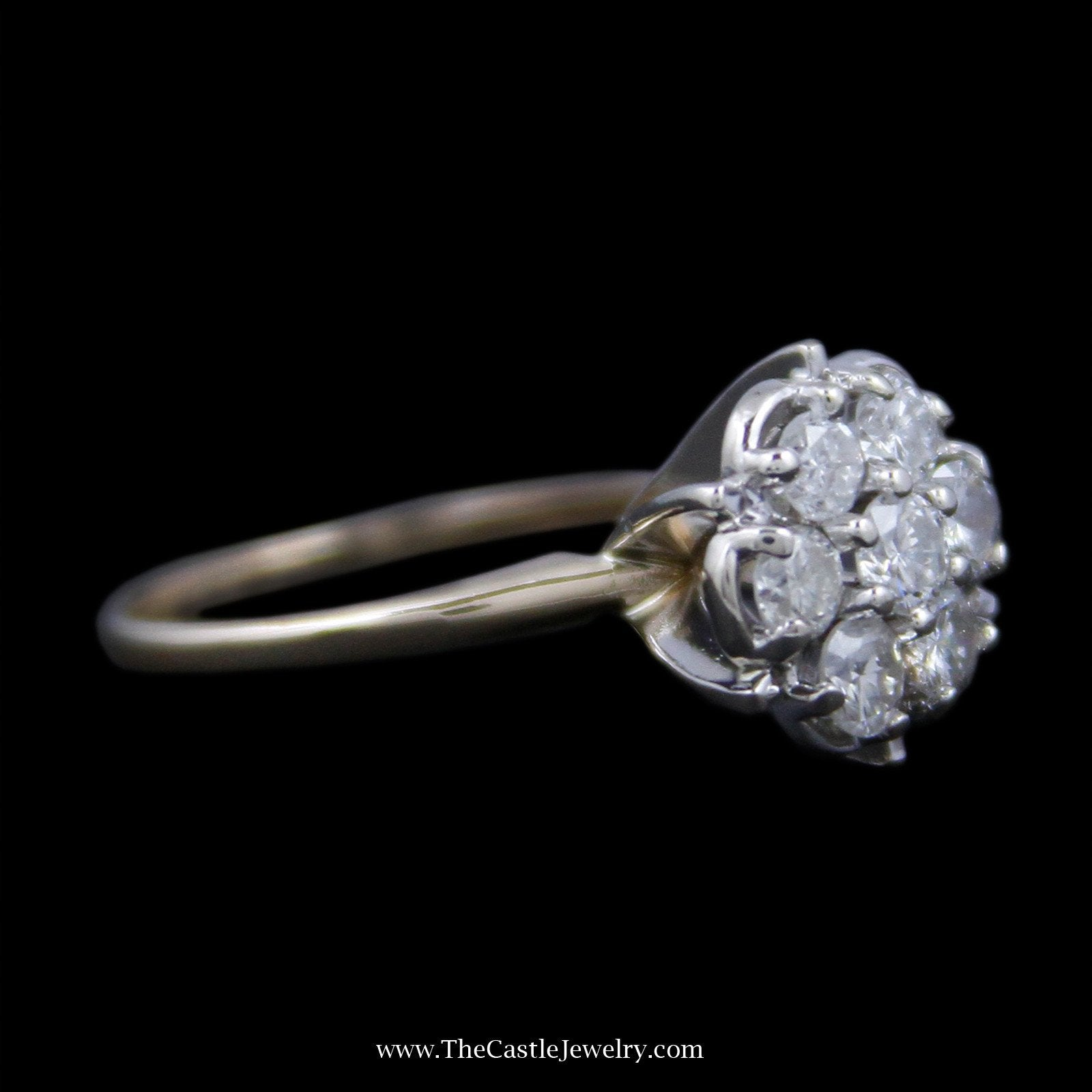 Gorgeous Round Diamond Cluster Ring with 7 Round Brilliant Cut Diamonds-2