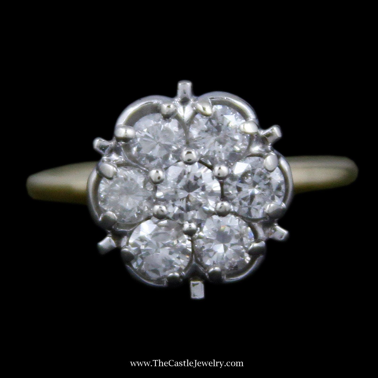 Gorgeous Round Diamond Cluster Ring with 7 Round Brilliant Cut Diamonds-0
