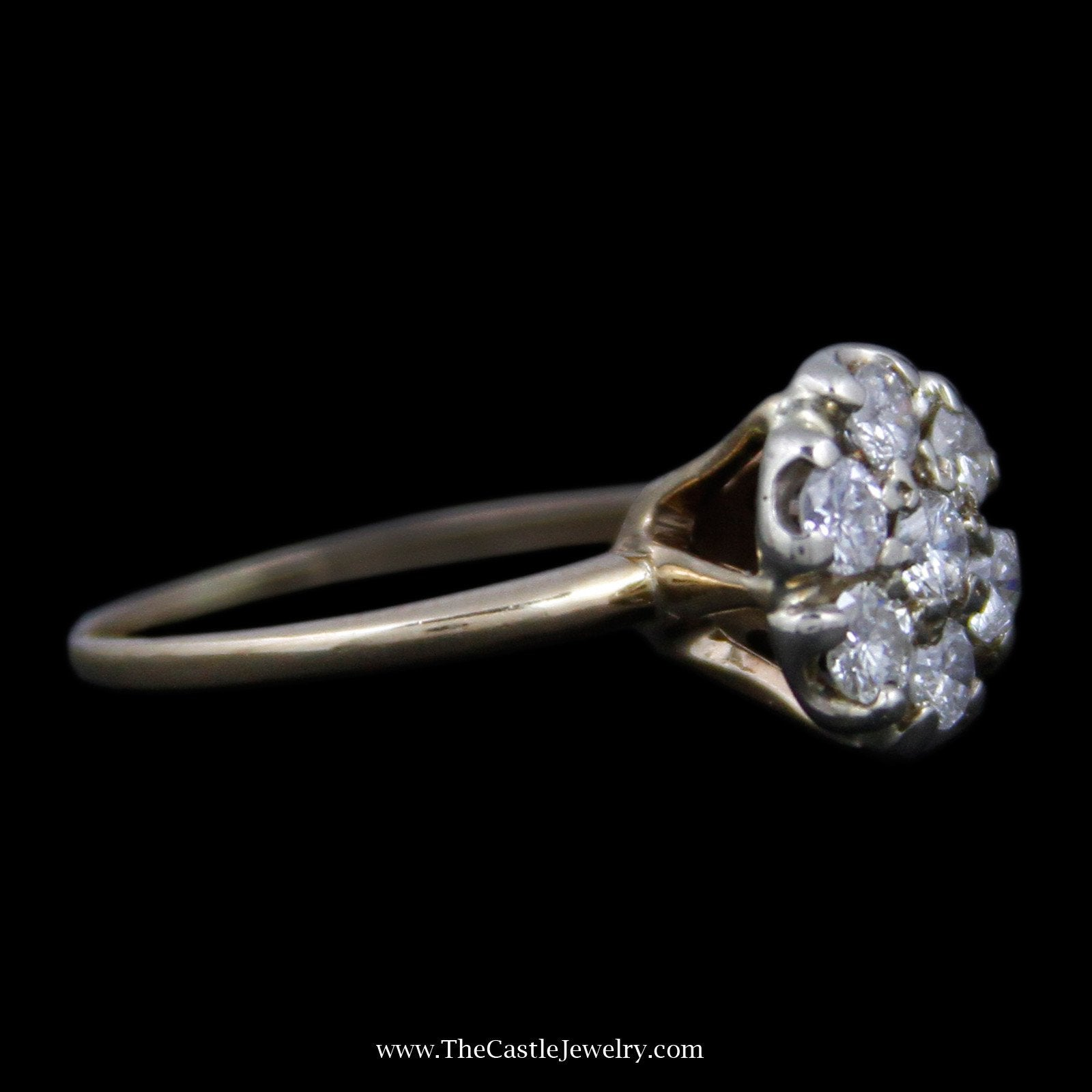 Stunning Round Diamond Cluster Ring w/ 7 Round Brilliant Cut Diamonds in 14k Yellow Gold-2