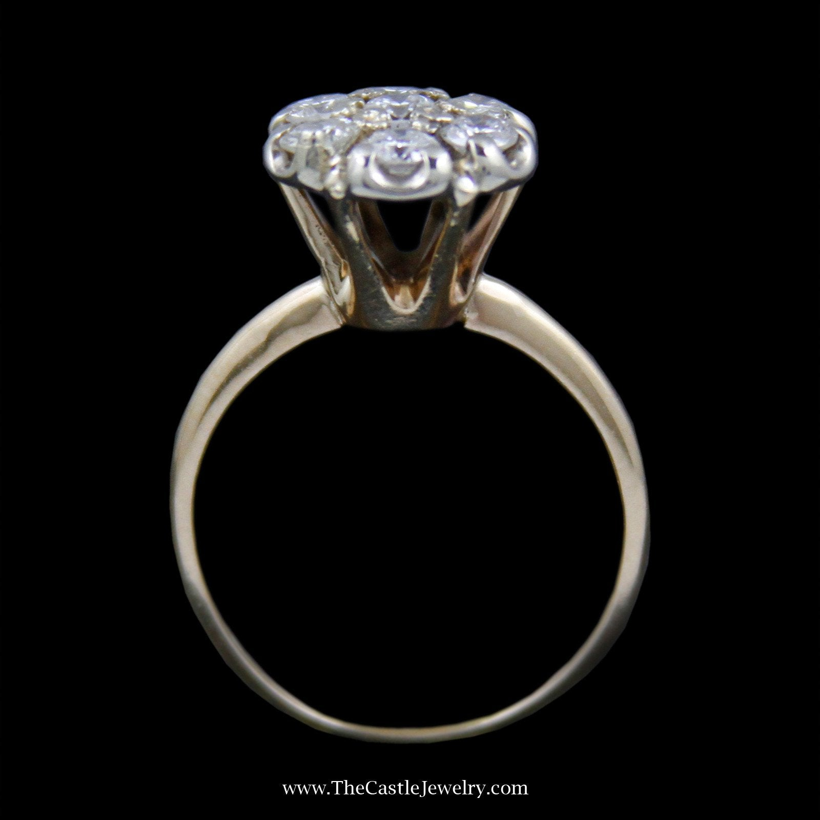 Stunning Round Diamond Cluster Ring w/ 7 Round Brilliant Cut Diamonds in 14k Yellow Gold-1