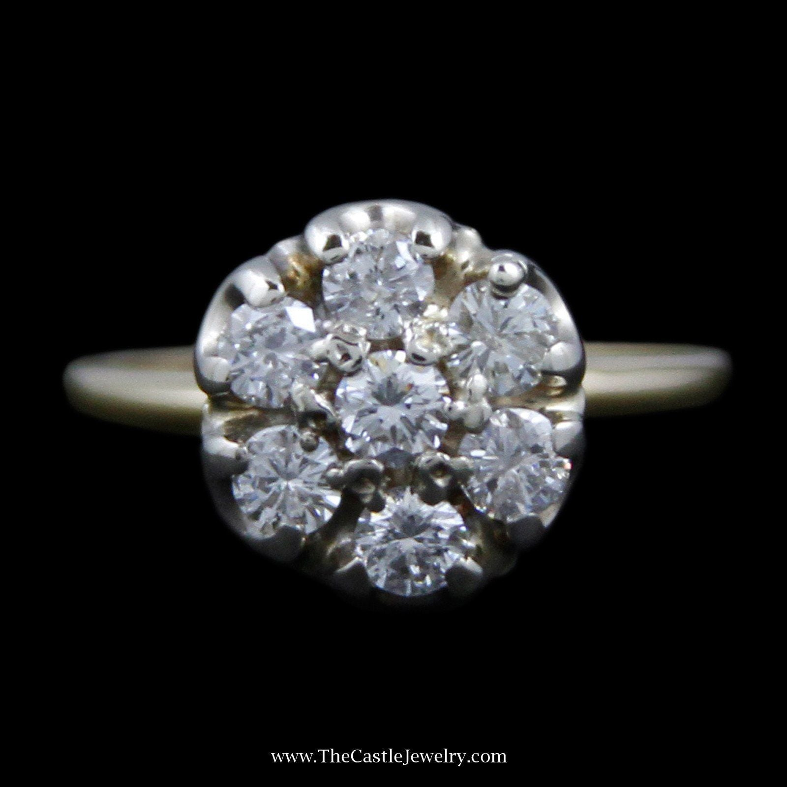 Stunning Round Diamond Cluster Ring w/ 7 Round Brilliant Cut Diamonds in 14k Yellow Gold