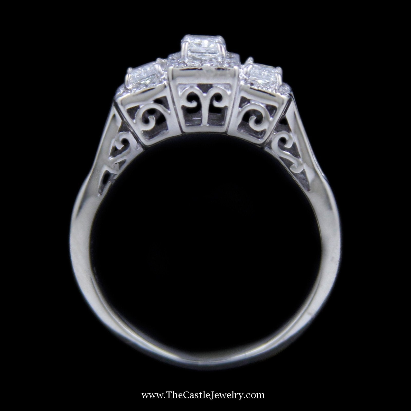 Radiant Cut DeBeers Style Ring with Diamond Accents and Channel Set Bagguette Sides