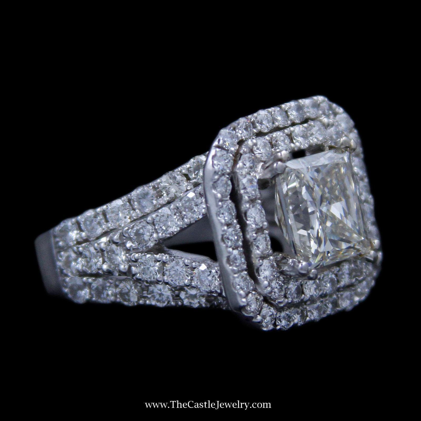 Princess Cut 2.98ct Diamond Engagement Ring w/ Double Round Diamond Bezel in 18k White Gold-2