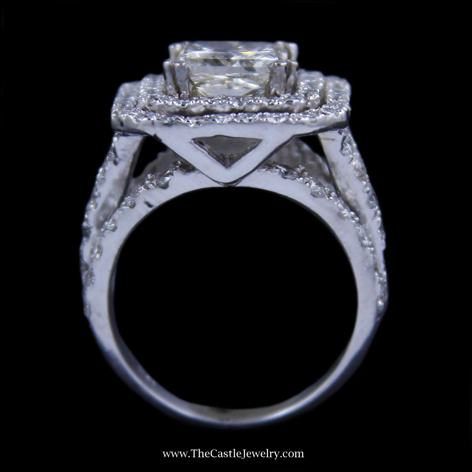 Princess Cut 2.98ct Diamond Engagement Ring w/ Double Round Diamond Bezel in 18k White Gold-1