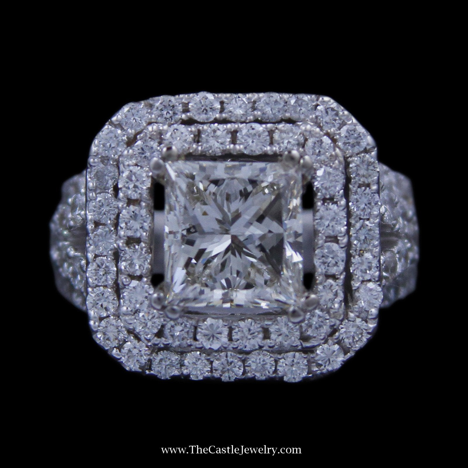 Princess Cut 2.98ct Diamond Engagement Ring w/ Double Round Diamond Bezel in 18k White Gold