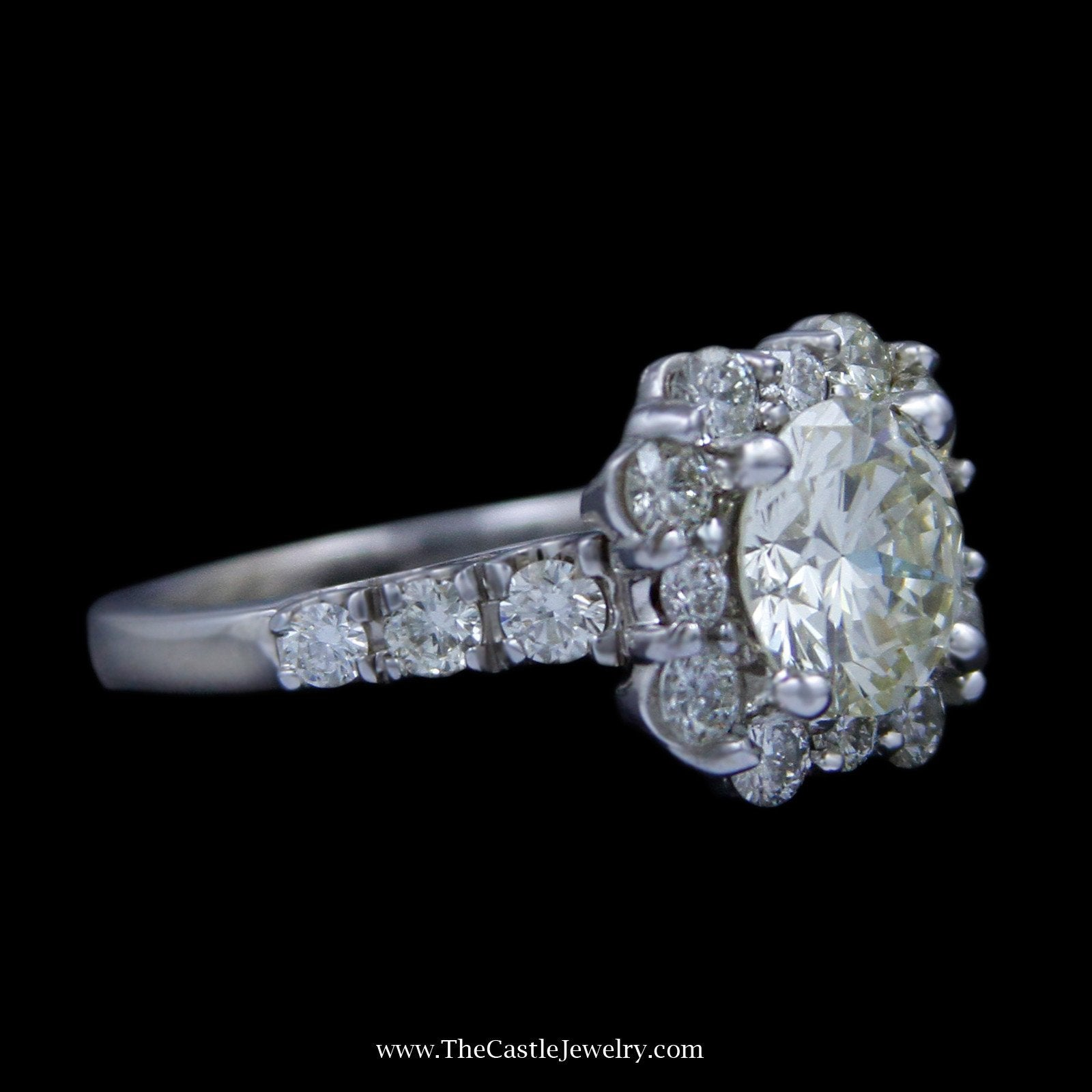4cttw Round Brilliant Cut Diamond Engagement Ring w/ Unique Diamond Bezel & Sides-2