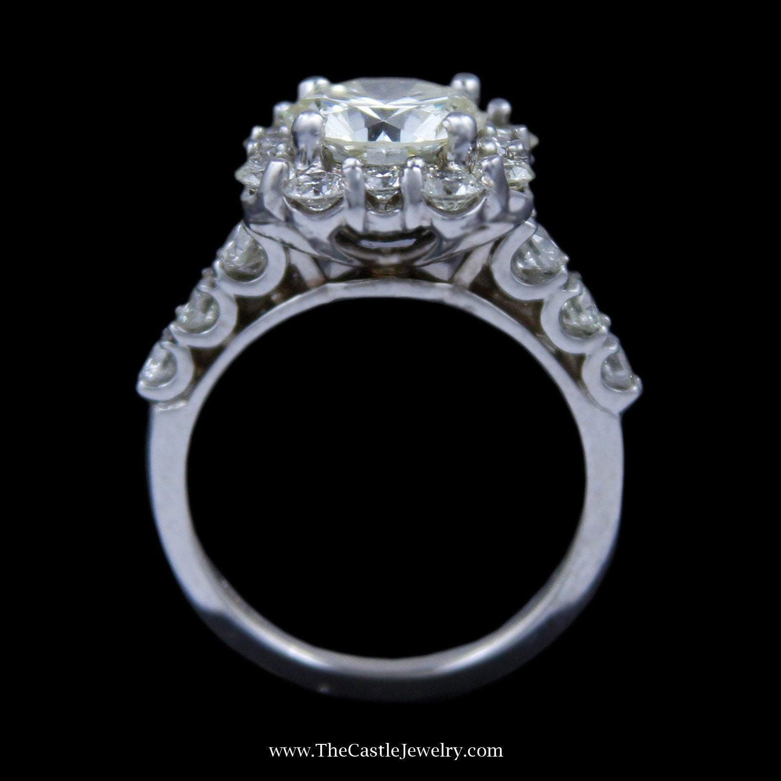 4cttw Round Brilliant Cut Diamond Engagement Ring w/ Unique Diamond Bezel & Sides-1